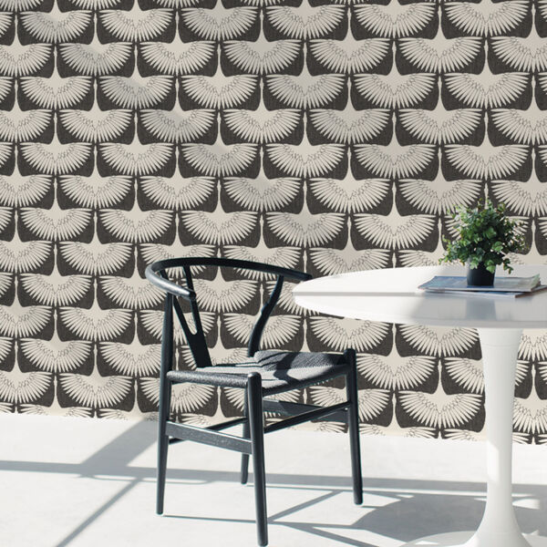 Feather Flock Storm Grey 56 Sq. Ft. Peel and Stick Wallpaper, image 1