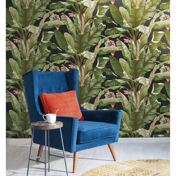 Ashford House Tropics Black and Green Banana Leaf Wallpaper, image 2