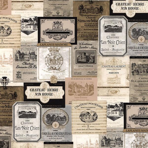 Beige and Black Wine Labels Wallpaper, image 1