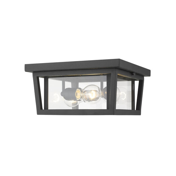 Seoul Black Three-Light Outdoor Flush Ceiling Mount Fixture With Transparent Glass, image 1