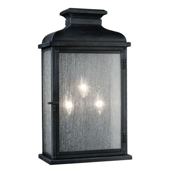 Pediment Dark Weathered Zinc Three-Light Eighteen-Inch Outdoor Wall Sconce, image 1