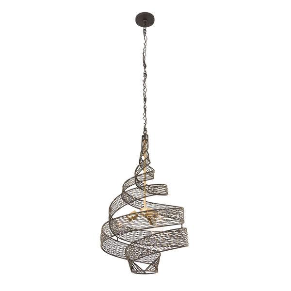 Flow Matte Black French Gold Three-Light Chandelier, image 3