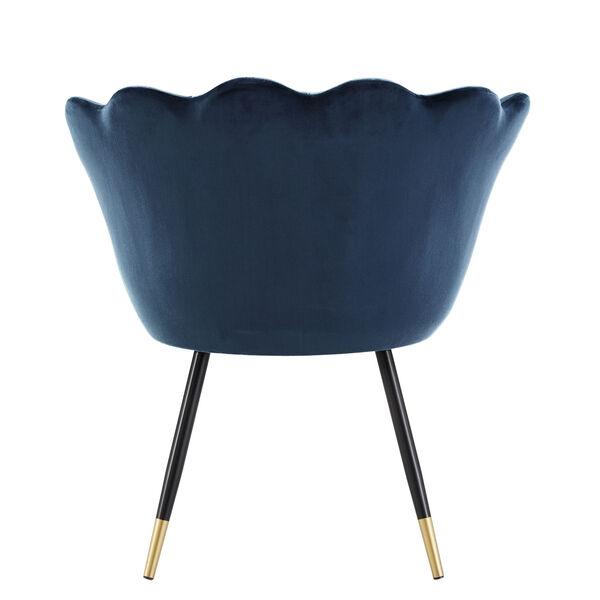 Stella Navy Blue Velvet Seashell Armless Chair with Black and Gold Leg, image 4