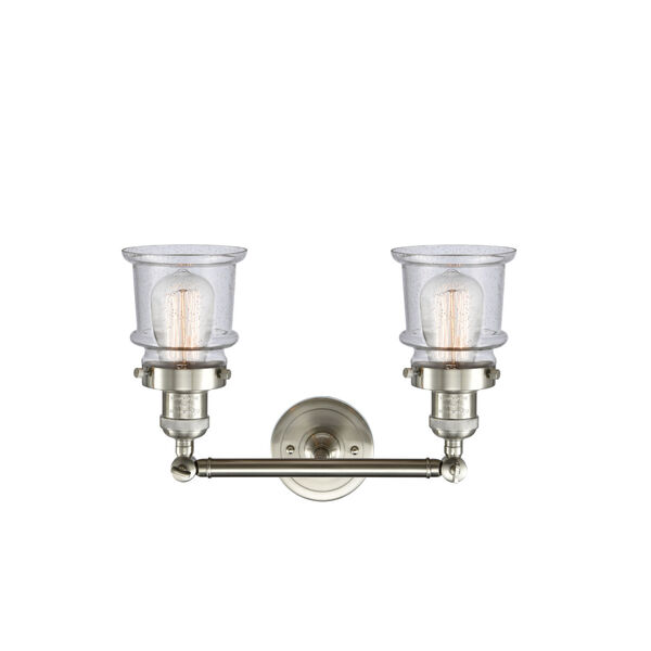 Franklin Restoration Brushed Satin Nickel 17-Inch Two-Light LED Bath Vanity with Seedy Glass Shade, image 2