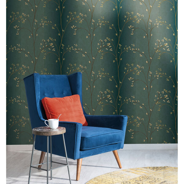 Inspired by Color Teal, Bronze Metallic and Powder Green Wallpaper, image 2