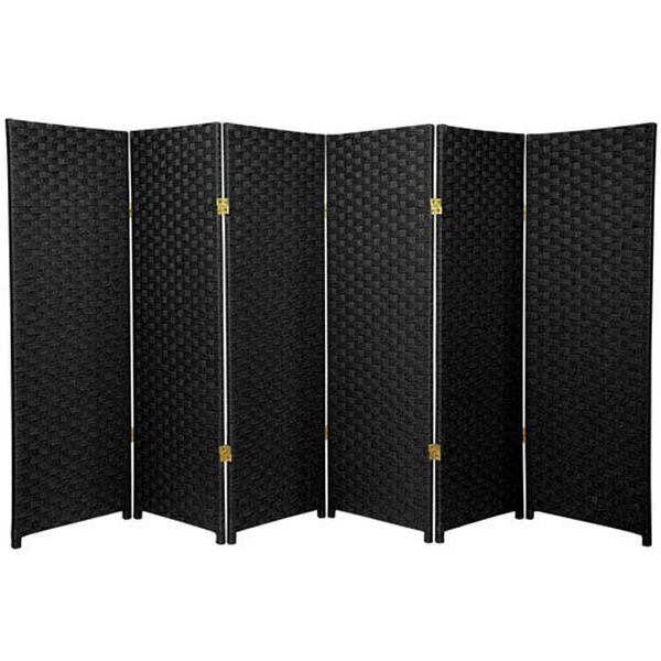 Four Ft. Tall Woven Fiber Room Divider Black Six Panel, Width - 96 Inches, image 1