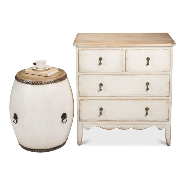 White Drum End Table, image 4