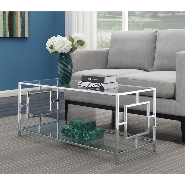 Town Square Coffee Table in Clear Glass and Chrome Frame, image 4