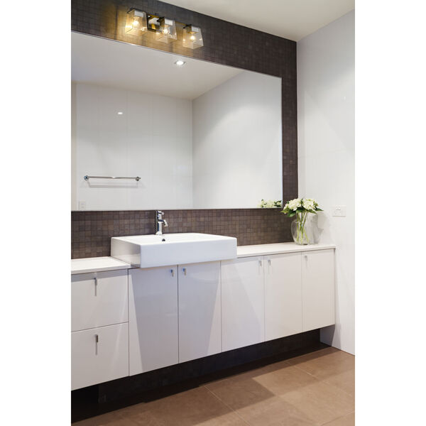 Bleeker Street Matte Black and Brushed Nickel Three-Light Vanity with Transparent Glass, image 2