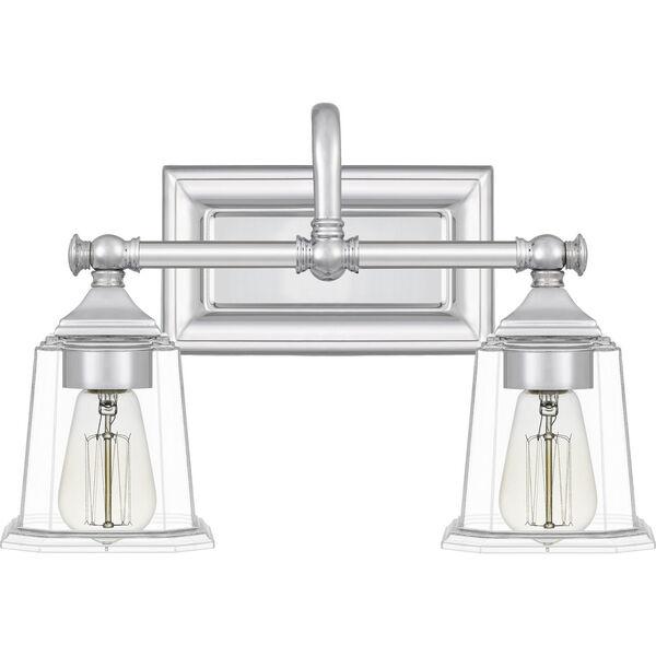 Nicholas Polished Chrome Two-Light Bath Vanity with Transparent Glass, image 6