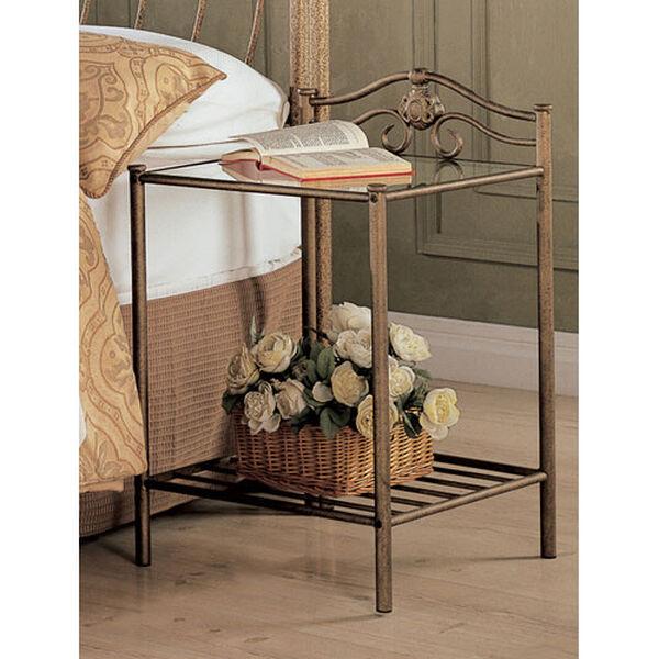 Singleton Transitional Iron Nightstand with Shelf, image 1