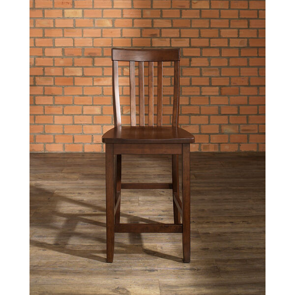 School House Bar Stool in Vintage Mahogany Finish with 24 Inch Seat Height- Set of Two, image 4
