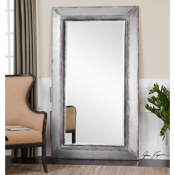 Lucanus Distressed Aged Silver and Natural Wood Mirror, image 1