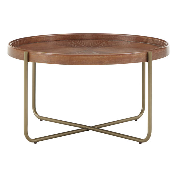 Adam Gold and Wood Coffee Table, image 2
