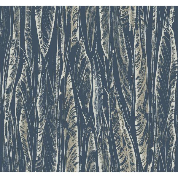Antonina Vella Elegant Earth Navy Native Leaves Bohemian Wallpaper, image 2
