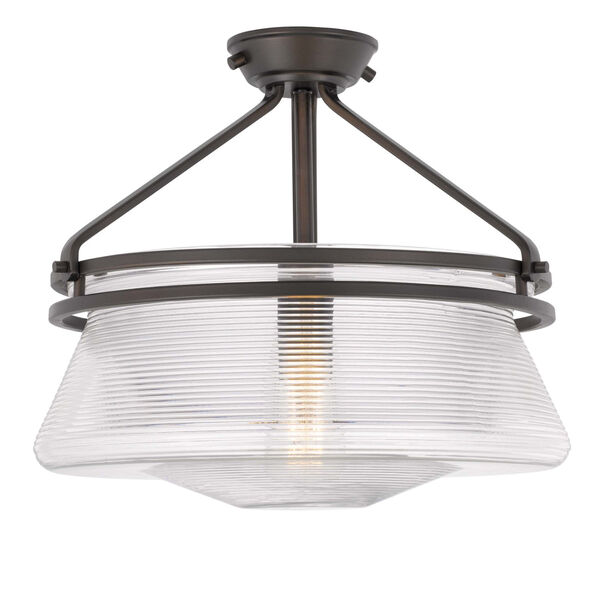 OKeefe Oil Rubbed Bronze One-Light Embossed Glass Semi-Flush Mount, image 1