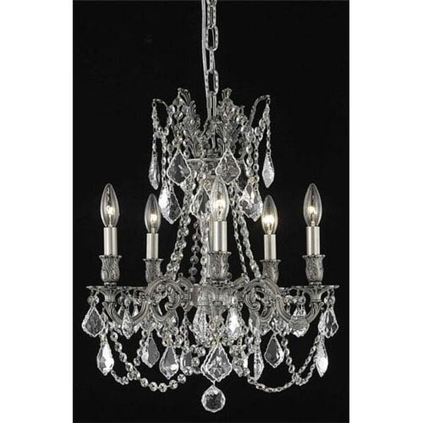 Rosalia Pewter Five-Light Chandelier with Clear Royal Cut Crystals, image 1