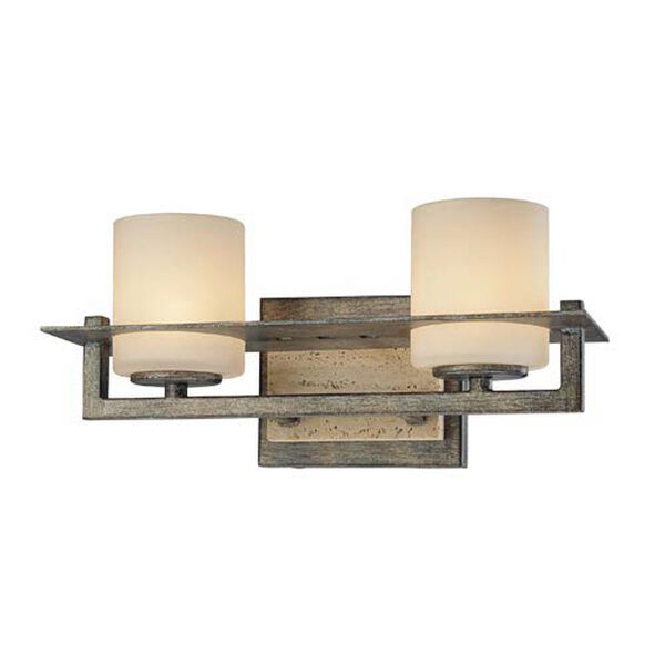 Compositions Aged Patina Iron with Travertine Stone Two-Light Bath, image 1