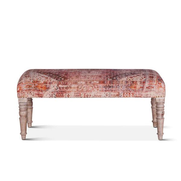 Algiers Tihiri Red and Whitewash Upholstered Bench, image 1