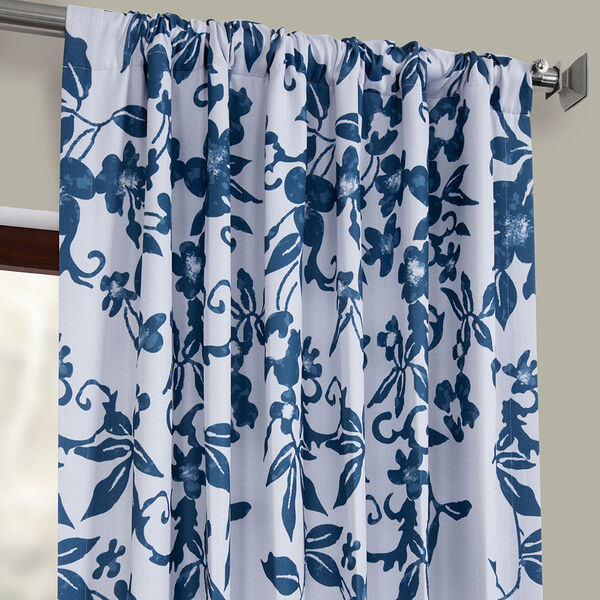 Blue Printed 84 x 50-Inch Polyester Blackout Curtain Single Panel, image 3