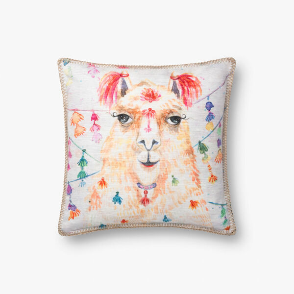 Multicolor Polyester 18 In. x 18 In. Throw Pillow Cover with Down, image 1