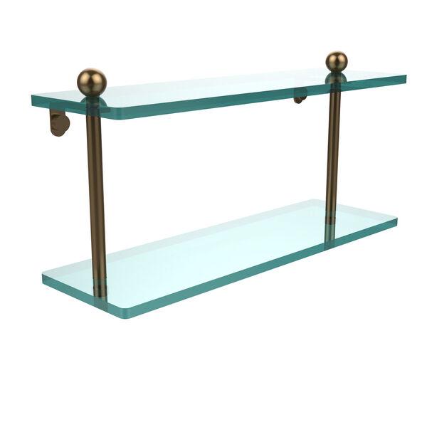 Brushed Bronze 16 x 5 Double Glass Shelf, image 1