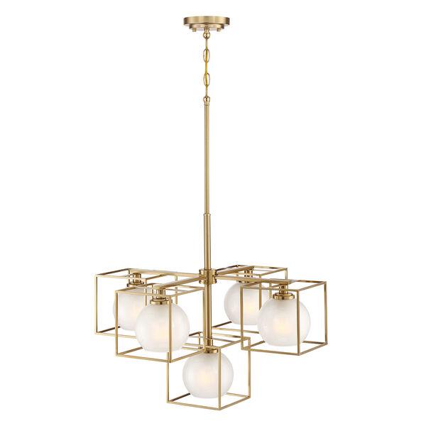 Cowen Brushed Gold Five-Light Chandelier, image 4