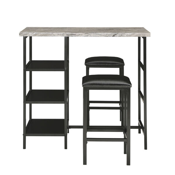 Rosa Black Three-Piece Counter Height Table Set with Marble Top, image 2