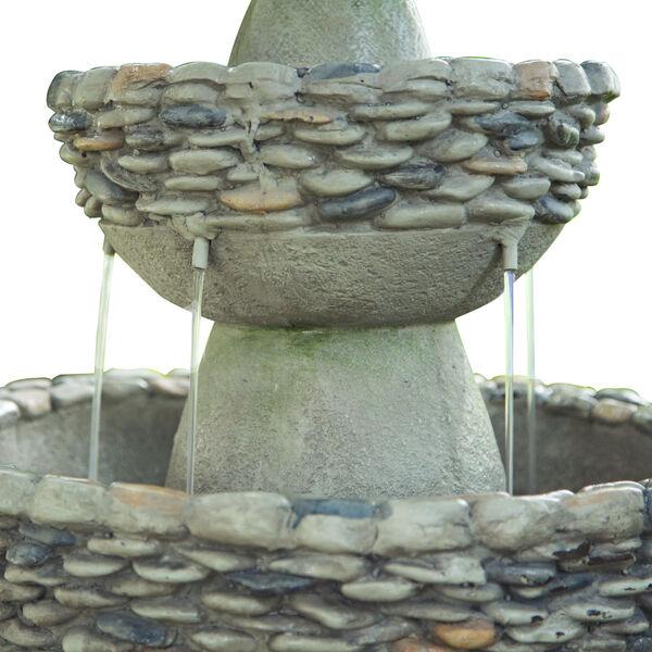 Stone Grey Outdoor Garden Zen Three - Tier Waterfall Fountain, image 4