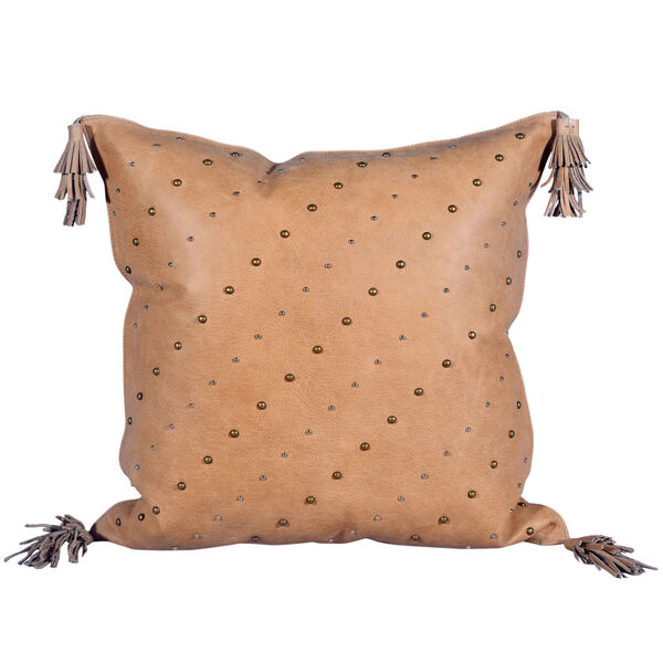 Genuine Leather Tan 20 In. X 24 In. Studded Leather Throw Pillow with Tassel, image 3
