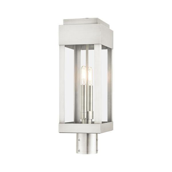 York Brushed Nickel Two-Light Outdoor Post Lantern, image 5