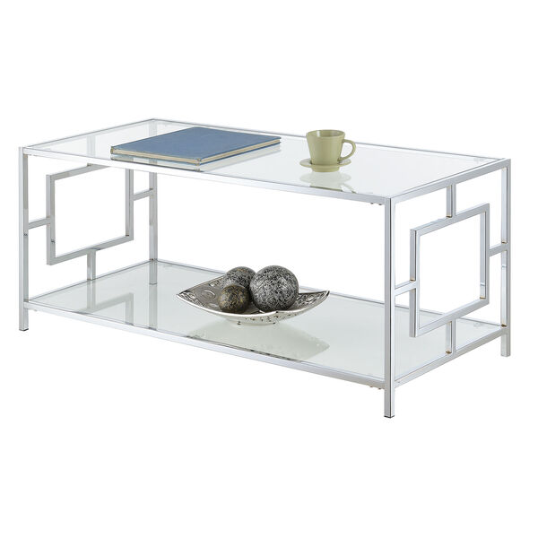 Town Square Coffee Table in Clear Glass and Chrome Frame, image 5