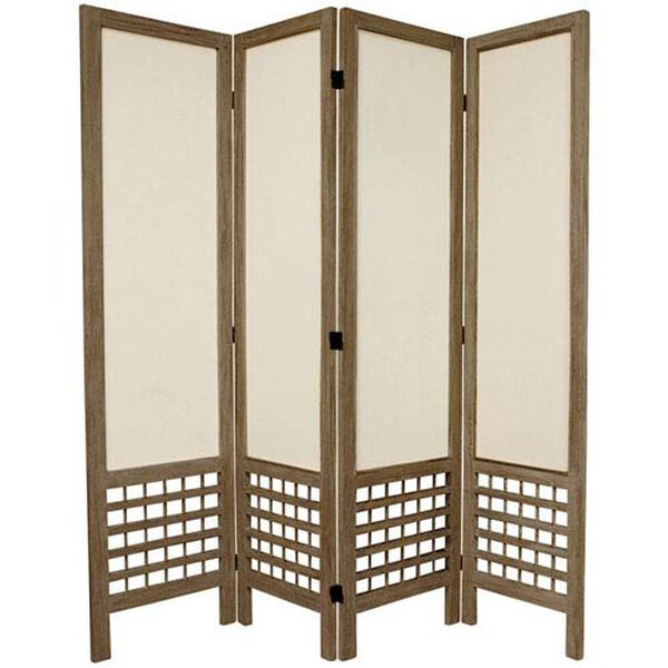 5 1/2 Ft. Tall Open Lattice Fabric Room Divider Burnt Grey Four Panel, Width - 17.25 Inches, image 1