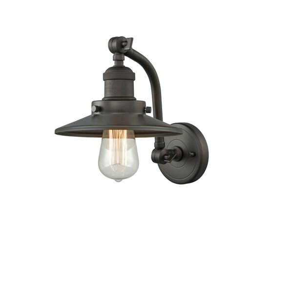 Franklin Restoration Oil Rubbed Bronze Five-Inch One-Light Wall Sconce with Railroad Oil Rubbed Bronze Metal Shade, image 1