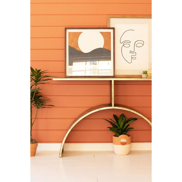 Antique Brass Console Table with Arched Base, image 3
