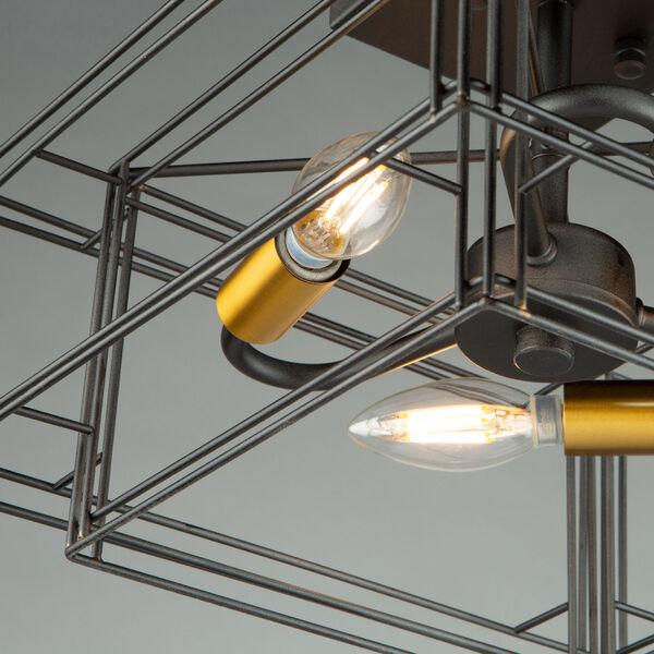Artisan Black and Brushed Brass Three-Light Semi-Flush Mount, image 6