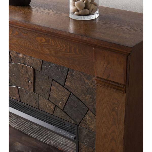 Ellkmont Salem Antique Oak Faux Stone Smart Electric Fireplace, image 3