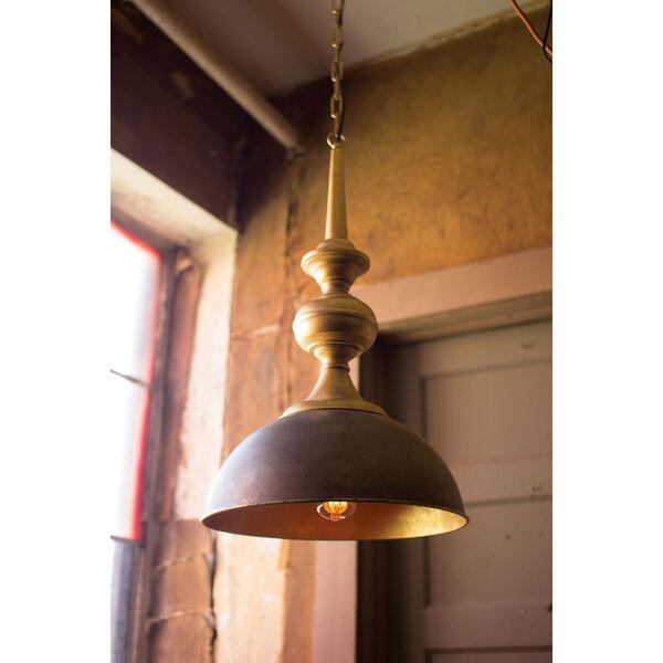 Antique Gold Metal One-Light Pendant, image 1