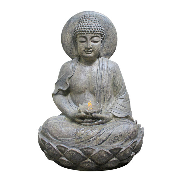 Stone Grey Outdoor Buddha Zen Fountain with LED Light, image 5