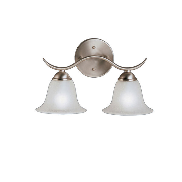 Dover Brushed Nickel Two-Light Bath Fixture, image 1