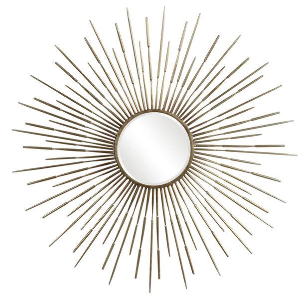 Golden Antiqued Gold Leaf Rays Starburst Mirror, image 2