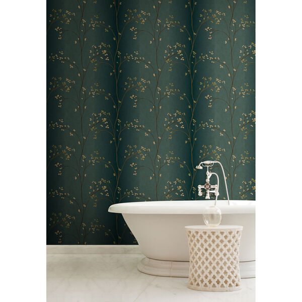 Inspired by Color Teal, Bronze Metallic and Powder Green Wallpaper, image 4