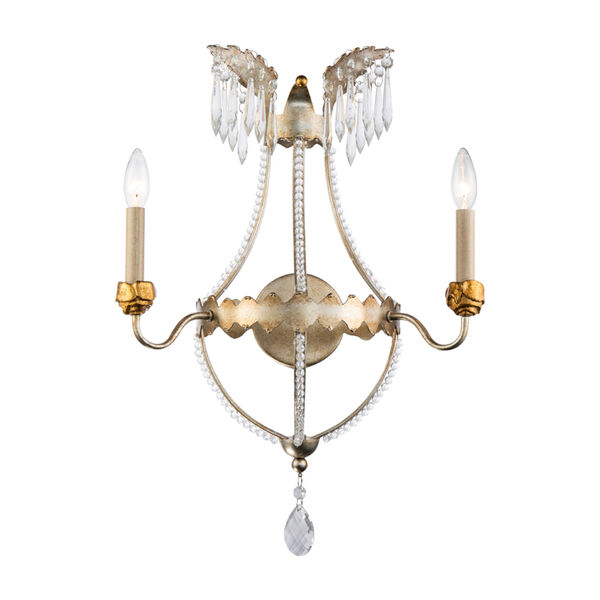 Louis Distressed Silver and Gold Two-Light Wall Sconce, image 1