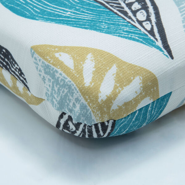 Leaf Block Teal and Citron Round Corner Chair Cushion, image 2