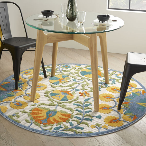 Aloha Blue and Yellow 4 Ft. x 4 Ft. Round Indoor/Outdoor Area Rug, image 1