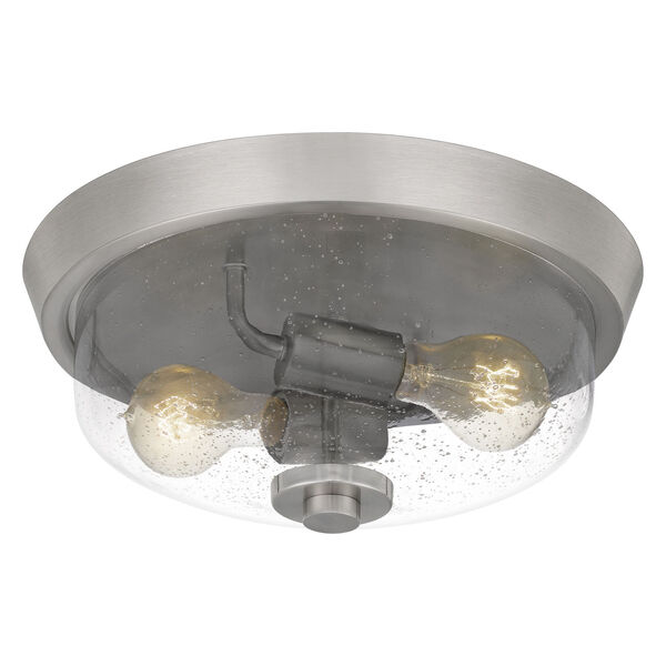 Radius Brushed Nickel 13-Inch Two-Light Flush Mount with Clear Seeded Glass, image 3