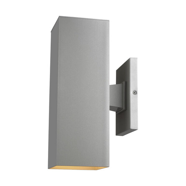 Pohl Painted Brushed Nickel Two-Light Outdoor Wall Sconce with Tempered Glass Shade Energy Star, image 2