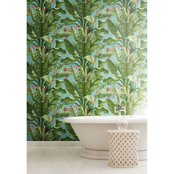 Ashford House Tropics Aqua and Green Banana Leaf Wallpaper, image 4