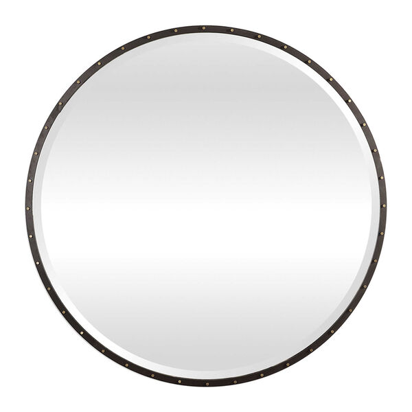 Benedo Rustic Black and Gold Round Mirror, image 2