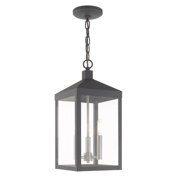 Nyack Scandinavian Gray Eight-Inch Three-Light Pendant Lantern, image 1